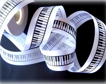 "Piano Keyboard Ribbon Trim, Black / White, 1 1/2"" inch wide, 1 yard, For Scrapbook, Decor, Accessories, Mixed Media"