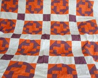 Pieced Quilt Top in Orange and Blue