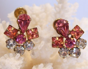 12 K Gold Filled Pink Rhinestone Screw Back Earrings