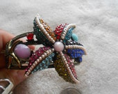 High Fashion-Goldtoned Designed Crystal Rhinestone Clamper Bangle-Multi Colored Starfish