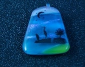 Fused Glass Scenic Pendant with Herons  50% off Clearance Sale