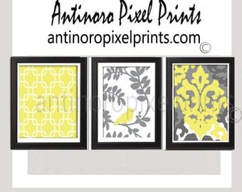 Yellow Bird  Vintage / Modern inspired Art Prints Collection  -Set of (3) Wall Art Prints - Yellow Grey White (UNFRAMED)