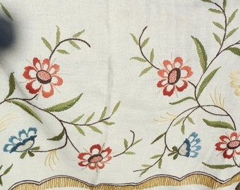 Vintage Crewel Embroidery Bed Spread Lots of Handwork Done on this Beautiful