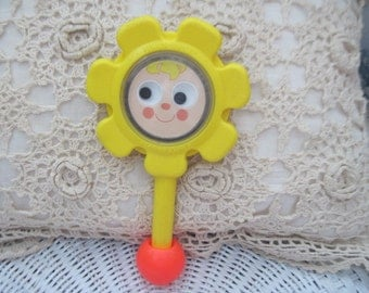 Sweet Fun Little Flowered Baby Rattles from 1973 Fisher Price /:)S