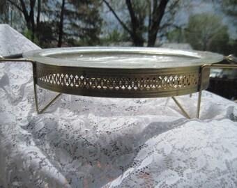 Pyrex Meat Platter ,Warmer Tray, Glass and Metal Platter, Vintage Dishes, Vintage Kitchen,