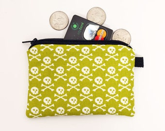 Coin purse padded zippered pouch, crossbones zipper purse, mini boneheads zip bag, small makeup bag - white skull crossbones in kiwi green