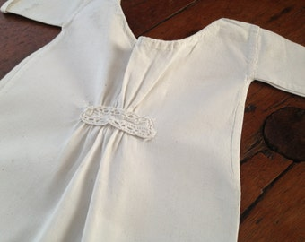 Antique Cotton Linen & Lace Baby Doll Chemise Dress Nightgown ~ Handsewn