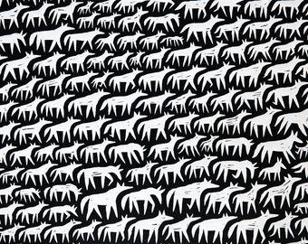Wild Horses. Linocut Print. Original Art by Anna Grincuka. Limited Edition of 100