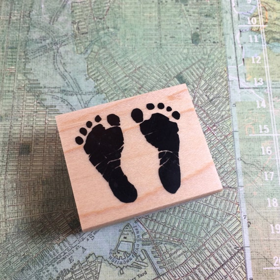 mini baby feet stamp rubber stamp mini baby feet for birth. Black Bedroom Furniture Sets. Home Design Ideas