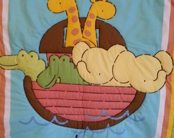 "Noah's ark quilt or wall hanging 40""x 34"" for baby"