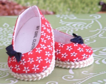 Red White and Blue Daisies Ballet Flats for American Girl