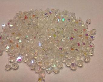 50 Austrian crystal AB Bicone beads, 4 mm (K11)