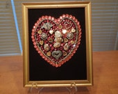 Valentines Day Art Picture of a Love Heart Made From Jewelry.  Jewelry Art
