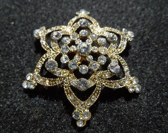Vintage Monet Brooch, Star or Flower Shaped, Silver Toned, Lots of Rhinestones, With Box