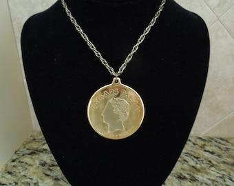 Vintage Medallion Necklace, Caesars Palace, Las Vegas.  Large Gold Toned Medallion, 2 Inch Diameter