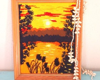 Vintage 1970s Framed Hippie Crewel Needlepoint Sunset/ Surf Shack Decor