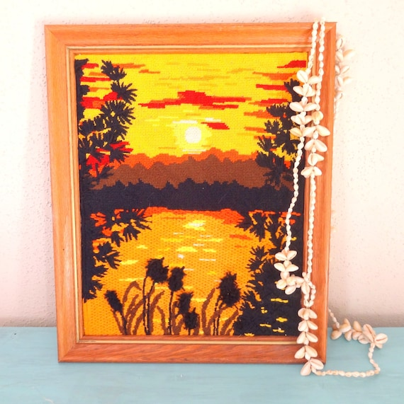 Vintage 1970s Framed Hippie Crewel Needlepoint Sunset/ Surf Shack Decor