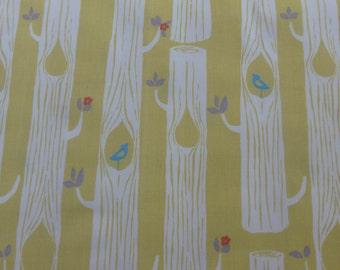 1/2 Yard Organic Cotton Fabric - Birch Fabrics, Tree Stripes Sun