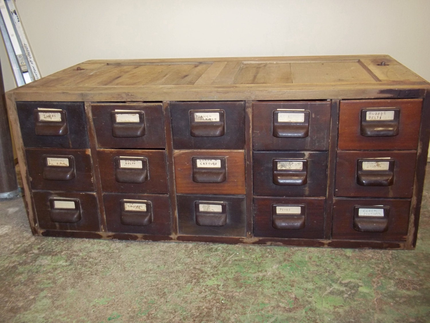 Stackable Wooden Drawers ~ Wooden card catalog storage with dovetailed drawers