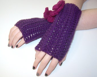 Fingerless Glove Arm Warmers Fashion Gloves- Deep Purple with Pink Flowers