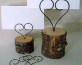 Special order for Laura- 17 thick wire heart table number holders with burned Initials