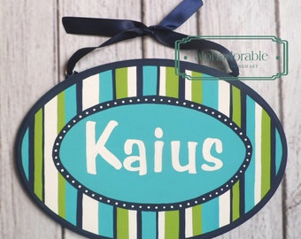 "Turquoise, Navy blue, lime green striped Artisan hand painted wooden name plaque sign 6x10"" ~ Elegant stripes"