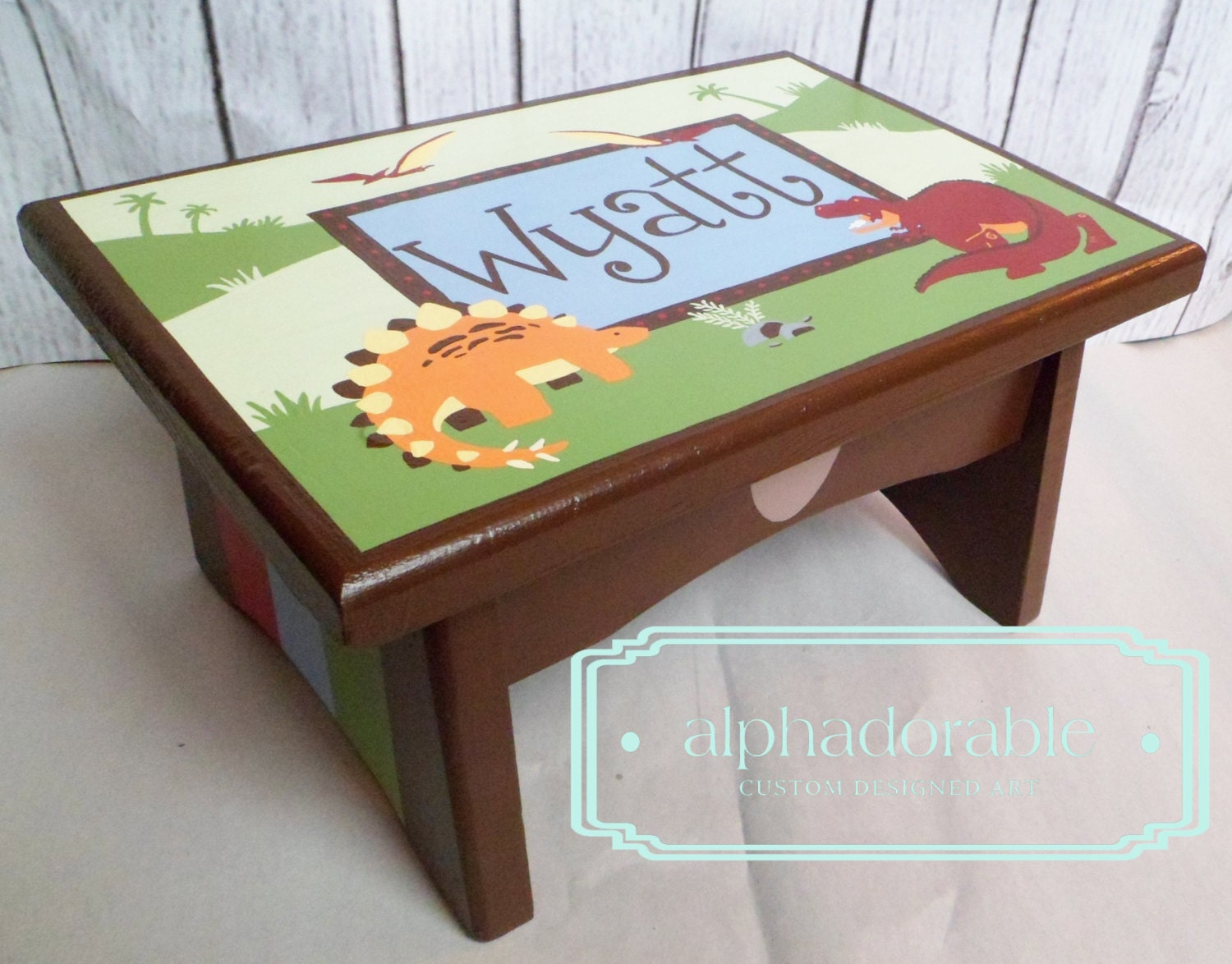 Artisan Hand Painted Custom Wooden Step Stool By Alphadorable. Full resolution‎  picture, nominally Width 1500 Height 1174 pixels, picture with #995132.