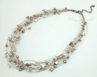 Multi strand freshwater pearl necklace.