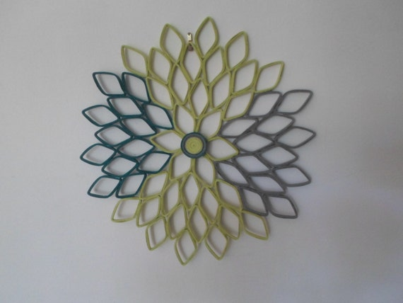 Marvelous Teal Lime Green Home Decor Dahlia Wall Hanging Large Wall Art Living Room  Bedroom Part 20