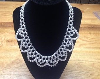 Vintage White Faux Pearl Beaded Necklace , Length 19.5''