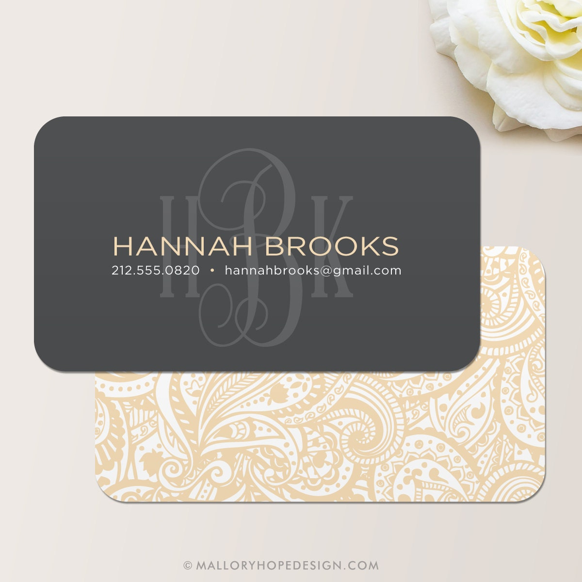 Monogram business card calling card mommy card contact for Business calling cards