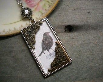 Curious Sparrow Necklace/Cottage Chic/Woodland/Victorian/Edwardian