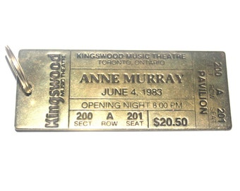 Vintage 1980s Lowell Sigmund Tag, Anne Murray Brass Ticket, Antique Alchemy