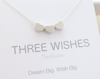 Three Wishes Necklace. Tiny 3 Hearts Necklace. bridesmaid gift. bridesmaid jewelry. best friend gift. delicate necklace. delicate jewelry