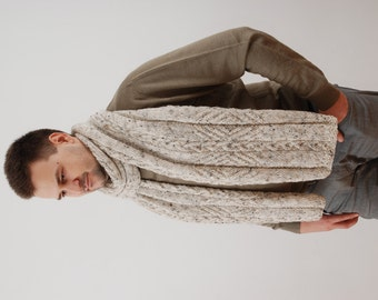 Extra Long Winter Mens Scarf, Knit Large Scarf Chunky Scarf Cable Knit Men Scarf. Mens Accessories For Him Gift Idea