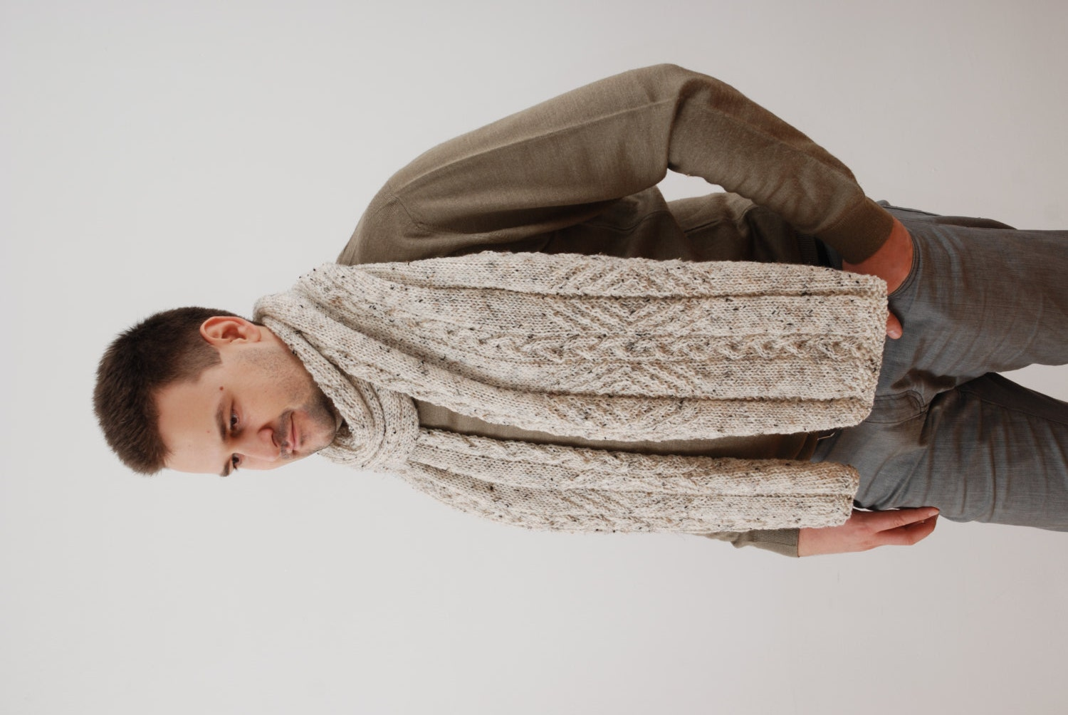 Knitting Mens Scarves : Extra long winter mens scarf knit large chunky