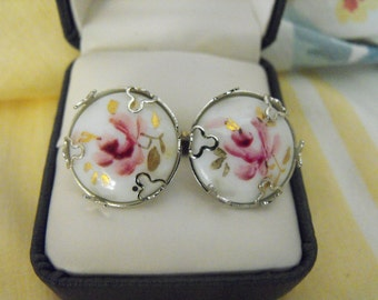Vintage silverplated Guilloche Handpainted Enamel Earrings - Rose Design - Screwback
