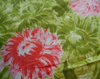 Vintage 1950's Red Floral and Green Leaves Cotton Dress Fabric, Shy of 3 yards