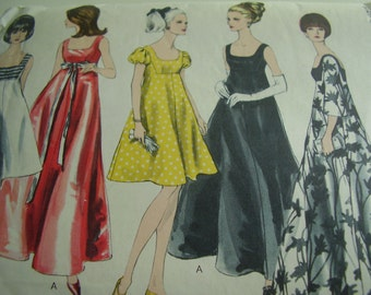 Vintage 1960's Vogue 6924 Evening Dress Sewing Pattern, Size 12, Bust 32