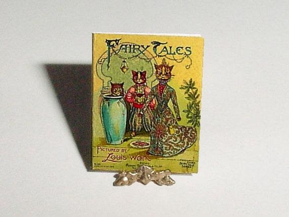 Miniature Dollhouse Book FAIRY TALES - Louis Wain Cats - 1/12 One Inch Scale Dollhouse Miniature Childrens Nursery Book Accessory