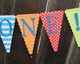 Little monster polka dot, stripe, and chevron Happy Birthday Banner, Birthday Banner, Birthday Decorations