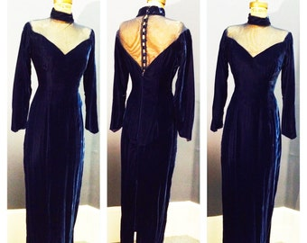SCINTILLATING BLUE VELVET Deep Plunging 1950's Style 1980's Mesh Neckline Cocktail Evening Dress Gown w Pointed Sleeves & Covered Buttons M