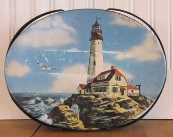 1950's Lighthouse Tin Basket, Tin, 1950's, 1960's, Basket, Cookie Tin, Lighthouse, Sea Shore, Beach House, Maine, New England, Beach