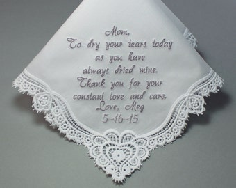 Wedding Handkerchief Embroidered to Mother of the Bride Monogrammed Personalized Custom(#1601091)