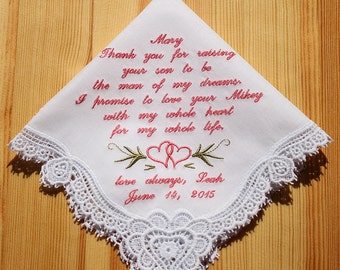 Mother of Groom Embroidered Personalized Wedding Handkerchief (#C)
