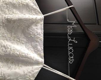 Wedding Dress Hanger, Bridal Hanger, Name Hanger, Personalized Hanger, Shower Gift, Wedding Hanger