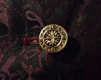 Brass compass cuff links