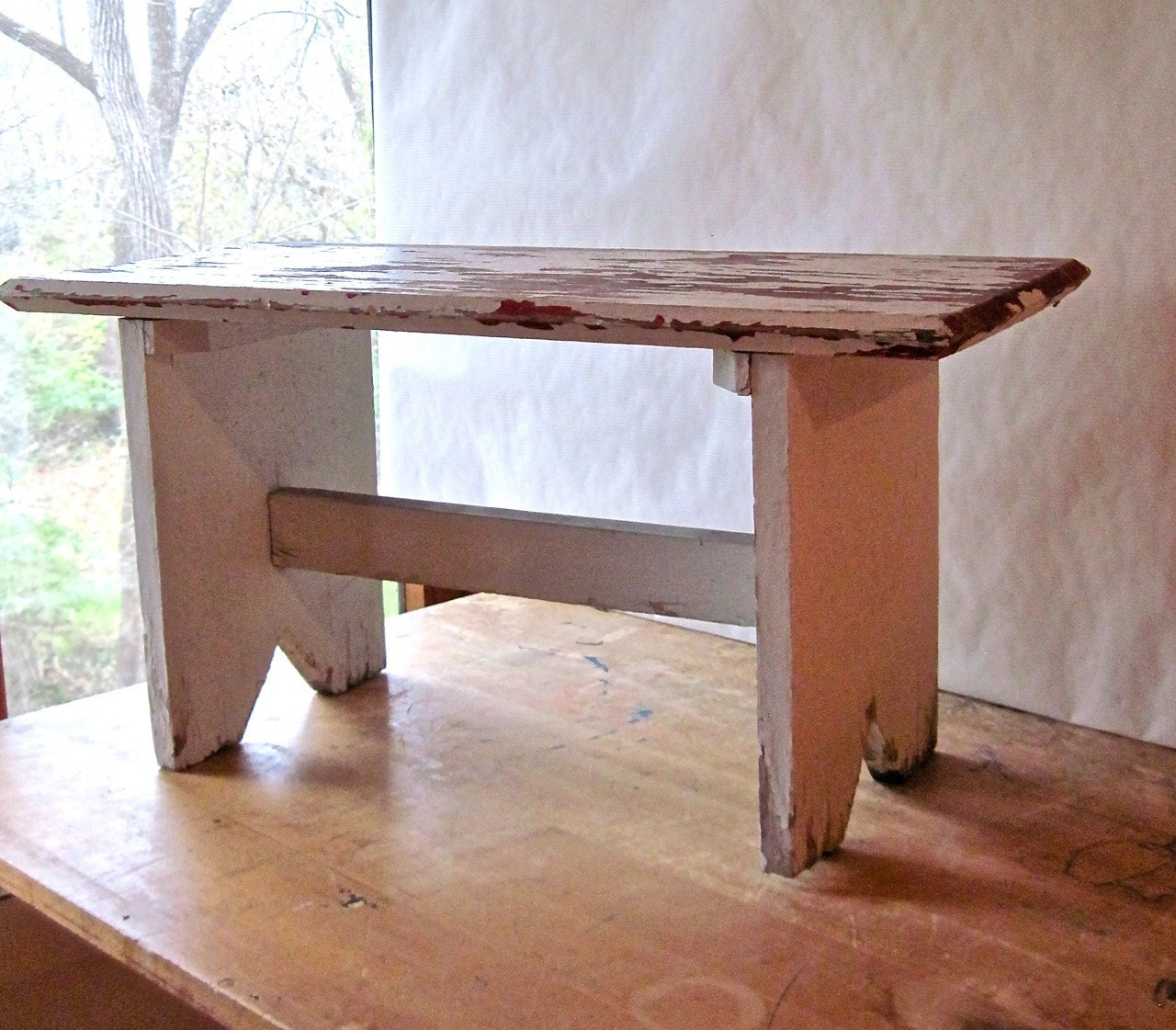Primitive Wooden Farmhouse Bench Chippy White By RushCreekVintage. Full resolution  snapshot, nominally Width 1280 Height 1121 pixels, snapshot with #3D1E14.