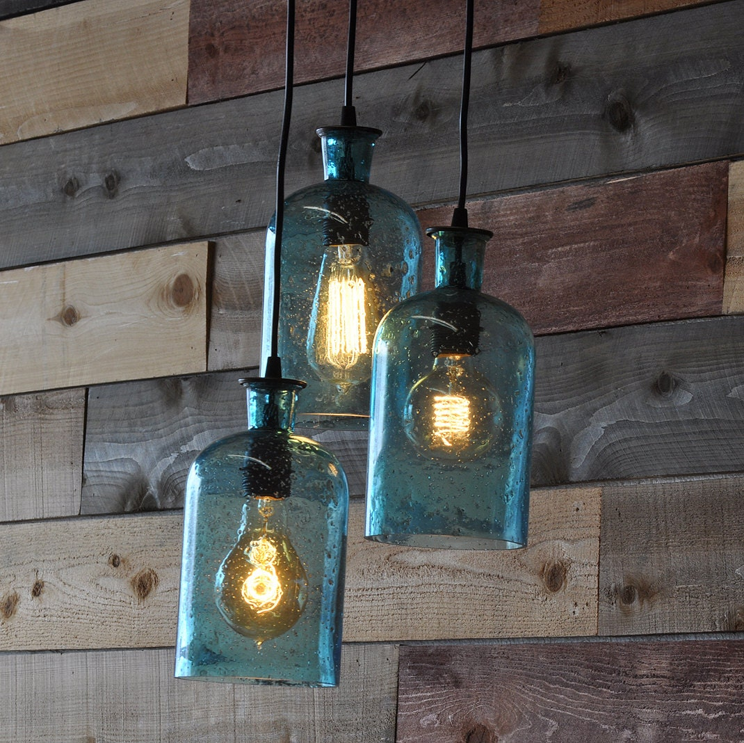 Beach blue hanging glass bottle chandelier by moonshinelamp - Glass bottle chandelier ...