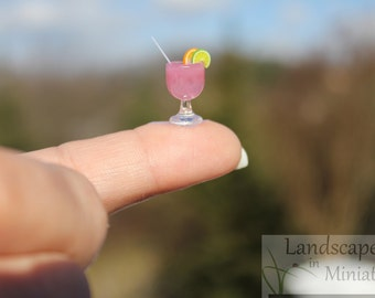 TWO Miniature Handcrafted Beach Drinks, Wine or Champagne Glasses WITHOUT Cocktail Umbrellas  - by Landscapes In Miniature